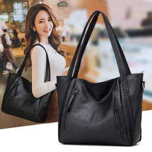 Image 1 - 2020 brand high quality soft leather large pocket casual handbag womens handbag shoulder bag large capacity handbag