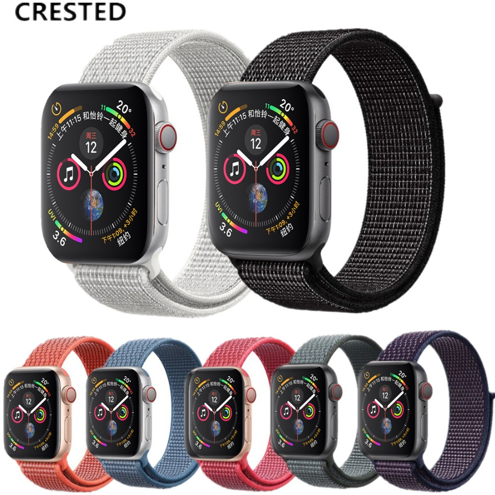 CRESTED New Sport loop For Apple Watch band 4 44mm 40mm Iwatch series 3 2 1 nylon breathable wrist bracelet lightweight beltCRESTED New Sport loop For Apple Watch band 4 44mm 40mm Iwatch series 3 2 1 nylon breathable wrist bracelet lightweight belt