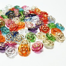 100P Mix color transparent rose shirt buttons apparel supplies sewing accessories free shipping 12mm A249