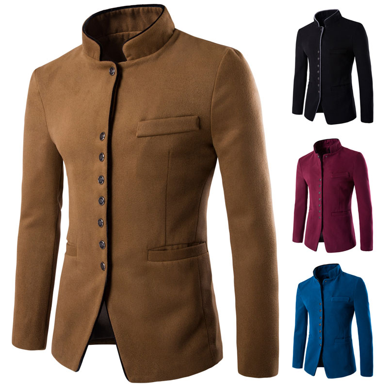 2016 New Autumn Winter Fashion Solid Mandarin Collar Wool Men's Coats Single breasted Slim fit Casual Thick Blazers Men