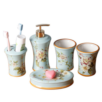 Bathroom Accessories Set Lavatory Ceramic Soap Dispenser Soap Dish Toothbrush Holder Wedding Gifts Hand-drawn Five-Pieces Set