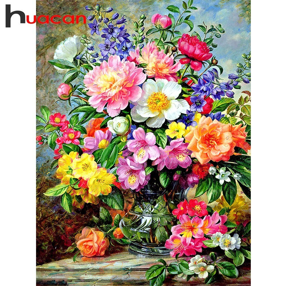 Huacan DIY Diamond Painting Flowers Diamond Embroidery Floral Picture Of Rhinestones Home Decoration Diamond Mosaic Full Layout