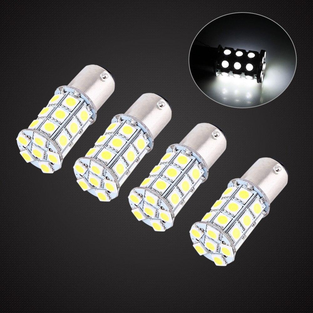 4 Pcs Car Brake Bulbs 12V 1157 BAY15D 5050 27 SMD High Power LED Car Brake Light Bulb Stop Lamp White