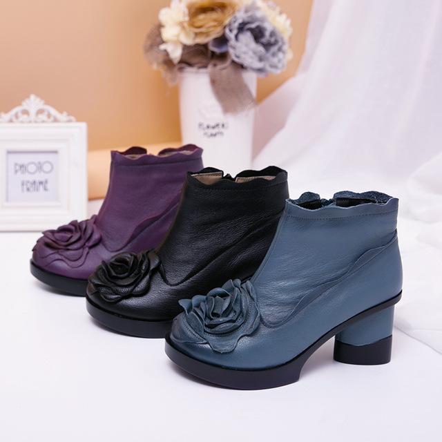 Outono E inverno Botas de Moda Sapatos de Couro Genuíno das Mulheres Mulheres Casuais Saltos Grossos Handmade Mulher Ankle Boots