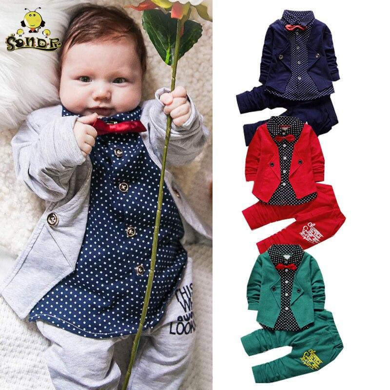 SONDR Children clothes girls formal gentleman suit kids dresses for boys costume Bow toddler boys clothes set birthday dresswear