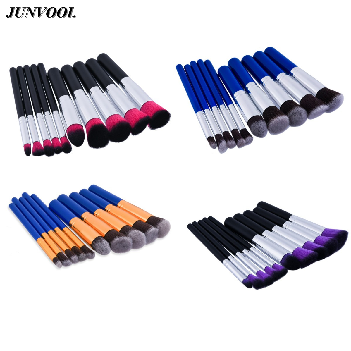 Gold Silver Brushes 10pcs Superior Soft Cosmetic Make Up Brush Set Woman Toiletry Kit Beauty Makeup Kabuki Blush Brush Pink Blue free shipping durable 32pcs soft makeup brushes professional cosmetic make up brush set