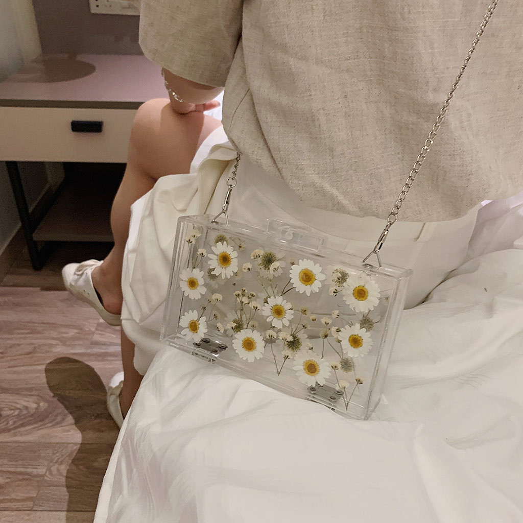 Flower Transparent Small Square Bag