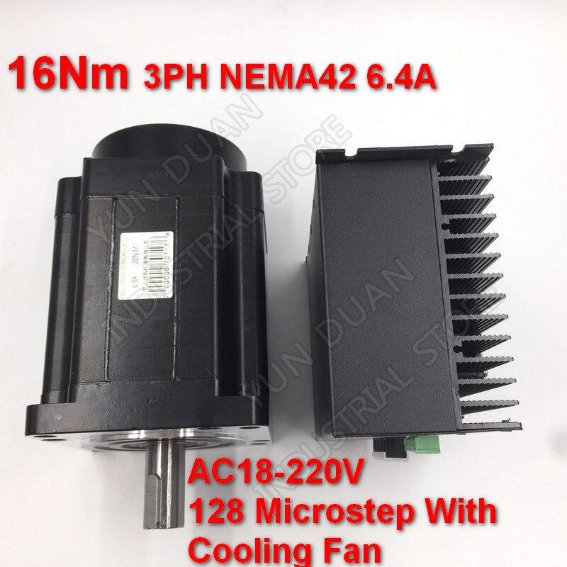 16Nm 110mm NEMA42 6.4A Kit de pilote de moteur pas à pas 3PH 32 DSP AC18-220V 128 Microstep avec ventilateur de refroidissement couple élevé pour CNC