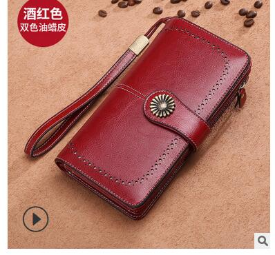 1pcs/lot woman casual cow skin long walllet lady cow leather hasp long purse female solid long wallet