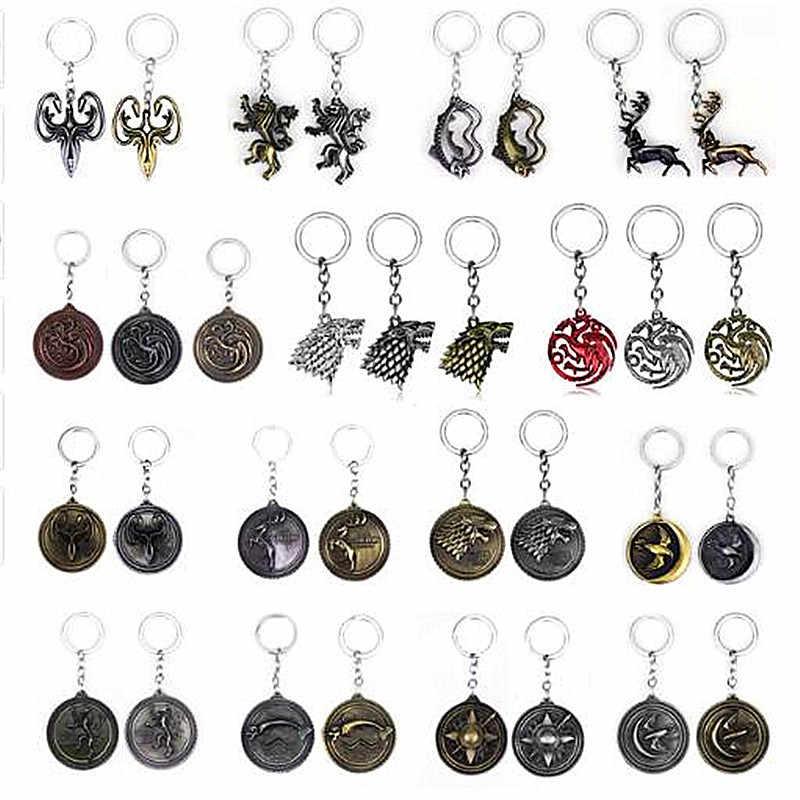 Anime jeu de trônes porte-clés maison Stark tête de loup main du roi Daenerys Targaryen Dragon porte-clés titulaire pendentifs Figure