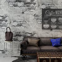 Brick Wall Paper Modern Retro Grey Cement Brick PVC Wallpaper Roll For Walls 3D Restaurant Cafe Bedroom Background Wall Covering