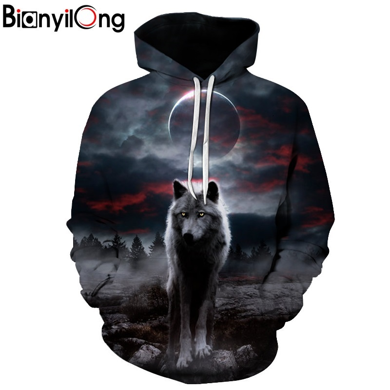 Night Space Galaxy Sweatshirts Men/women Tracksuits Tops Print Galaxy Wolf Hooded Hoodies Thin Autumn Sweatshirts