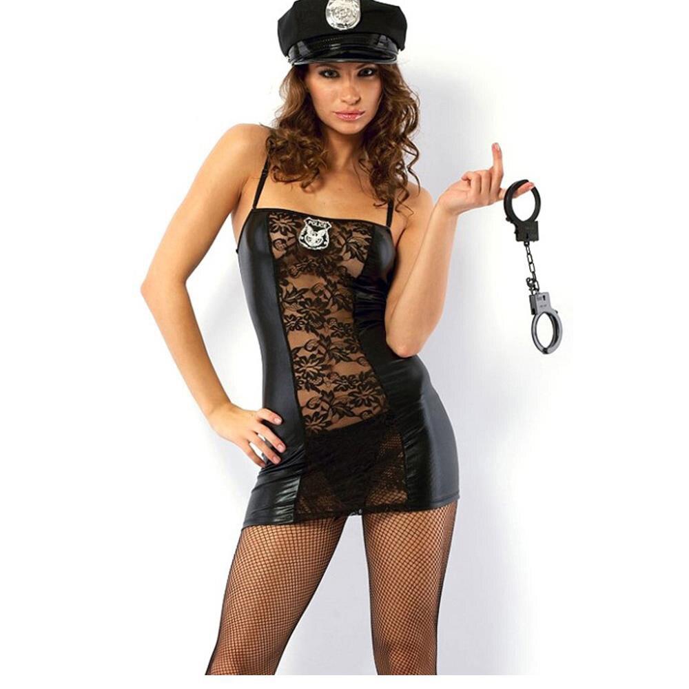 ba90ebb19 Polícia Cosplay Mulheres vestido de malha de vinil Polícia Role Play Hot  Policiais Trajes Sexy Mulheres Lingerie Sexy Trajes de Halloween W202310