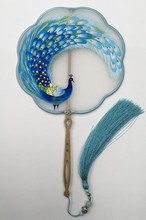 Hand Double-side Embroidery Chinese Fan Natural Mulberry Silk Bamboo Handle Home Decoration Women Gift