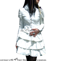 White Sexy Latex Dress With Buttons At Front Puffy Long Sleeves Rubber Bodycon Playsuit LYQ 0087