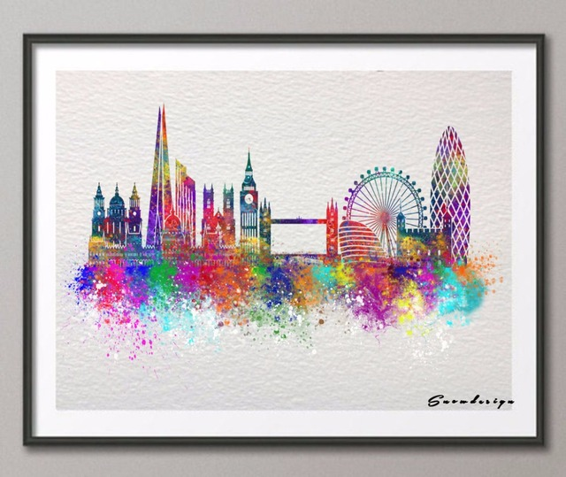 DIY Original Watercolor London Skyline Canvas Painting Wall Art Poster  Print Pictures Living Room Home Decoration Part 60