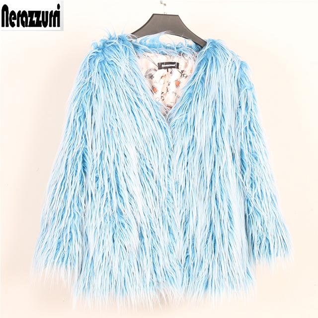 Nerazzurri Fluffy faux fur coat women winter streetwear v neck blue Fashion colored short fake fur jacket big size outerwear 5xl