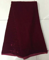 5yards Pcs Plain Wine Velvet Lace Fabric Simple Design 30 Real Silk For African Women