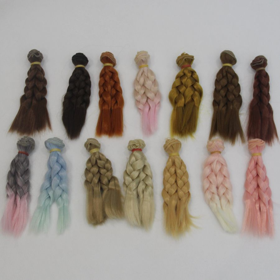 1pcs 15 100cm High Temperature Fiber Fashion Imitation Wool Roll Doll Hair Wefts hair For dolls Synthetic Wig in Dolls Accessories from Toys Hobbies