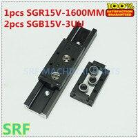 De alta calidad de 38mm de ancho cuadrado de aluminio de riel lineal de guía 1 piezas SGR15V L = 1600mm + 2 bloque deslizante de tres ruedas de SGB15V-3UU piezas