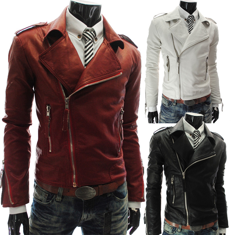 Leather Jacket Men Fashion Turn-down Collar Collar PU Leather Coat Male Motorcycle Leather Jackets Jaqueta De Couro MaleClothing