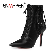 ENMAYER Elegant Big size 34-47 short Boots shoes woman Ankle Boots Sexy high Heels Pointed toe Punk High heels Women Shoes CR333 все цены