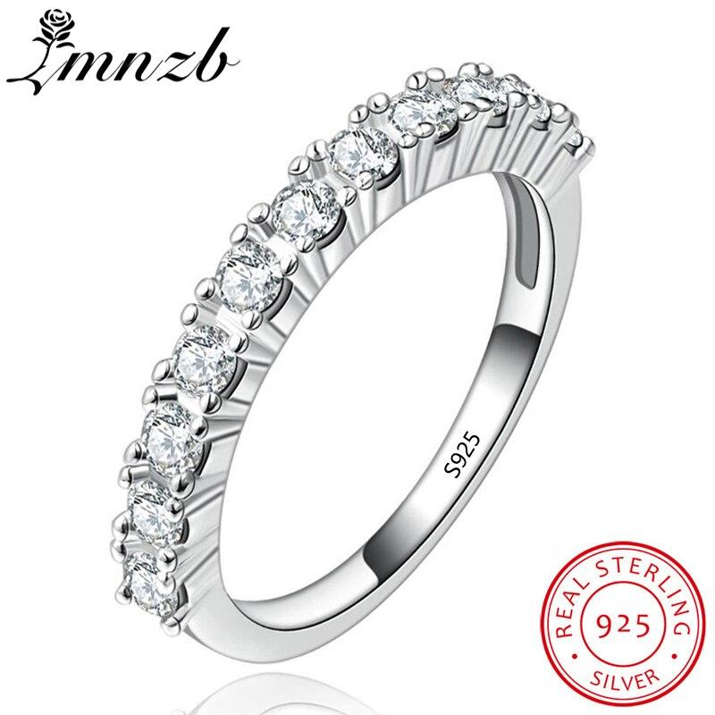 LMNZB Charme Solide 925 Anneaux D'argent Pour Les Femmes Bijoux Zircon De Fiançailles De Mariage Bijoux De Mode Doigt Anneaux LR144