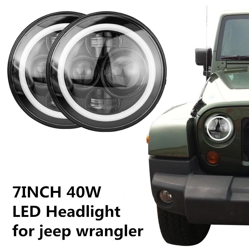 7 Inch Round LED Headlight White Halo Angel Eye & DRL LED Projection Lens For Harley Davidson Motorcycle LJ Tj Fj Cruiser Hummer