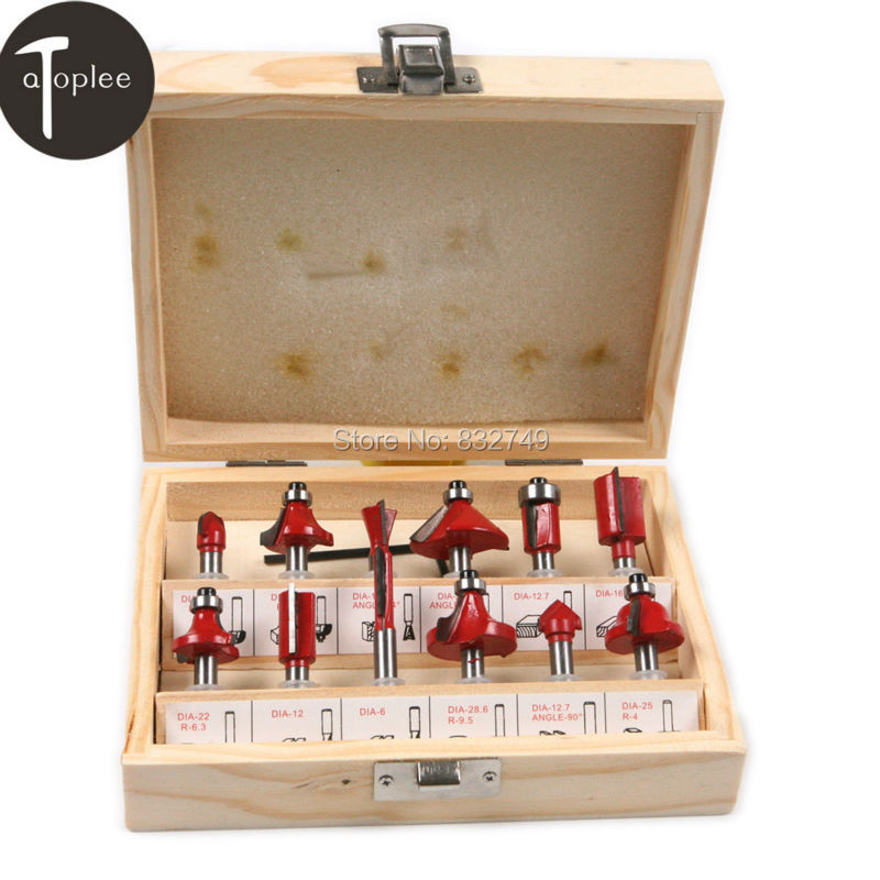 12PCS/Box 1/4 6.35mm Shank Router Bit Set Carbon Alloy Wood Woodworking Milling Cutter Trimming Knife Router Bits [15 pcs router bit set] woodworking milling cutters for wood router woodworking machine free shipping yg8 carbide wooden box