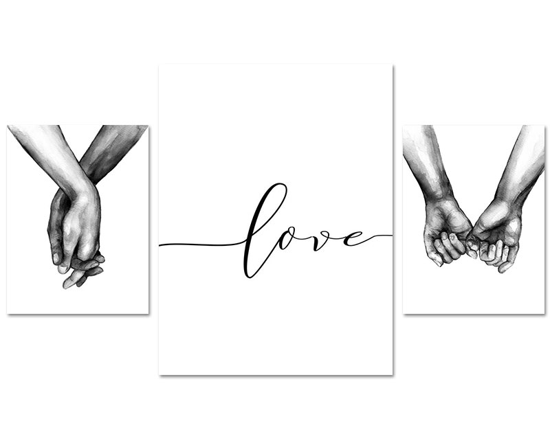 HTB18u4MX0jvK1RjSspiq6AEqXXat Nordic Poster Black And White Holding Hands Canvas Prints Lover Quote Wall Pictures For Living Room Abstract Minimalist Decor