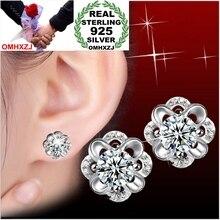 OMHXZJ Wholesale Men women Fashion jewelry AAA zircon Hollow out Eternal life to spend 925 Sterling Silver Stud Earrings YS63