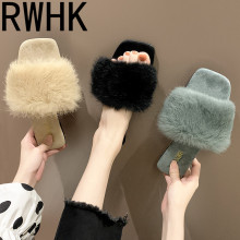 RWHK Fleece slippers female summer 2019 new fashion wear wild water mane open toe flat word drag B516