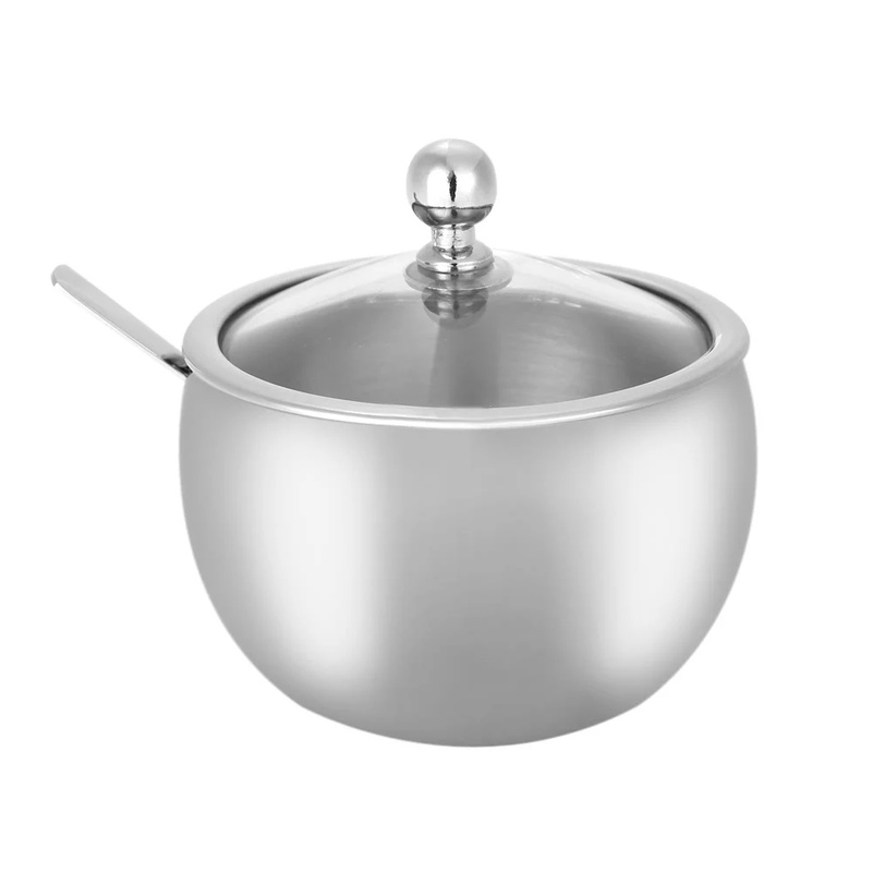 15% High-end Durable Stainless Steel Sugar Bowl With Lid And Sugar Spoon Versatile Seasoning Container