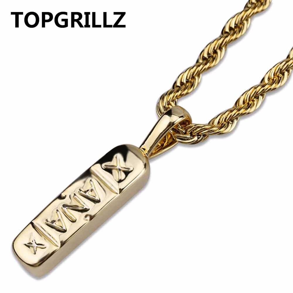TOPGRILLZ Hip Hop Gioielli Alla Moda Color Oro Ottone Xanax Pillola Del Pendente Della Collana di Fascino Per Le Donne Degli Uomini Con 24