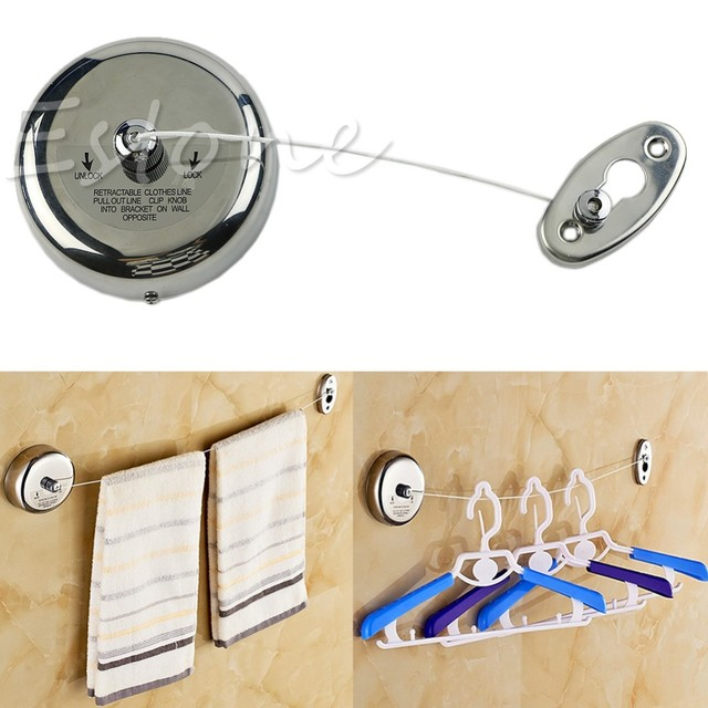 Home Hotel Retractable Clothesline Stainless Steel Square Round Clothesline  Outdoor Clothes Dryer With 2.5m Clothesline