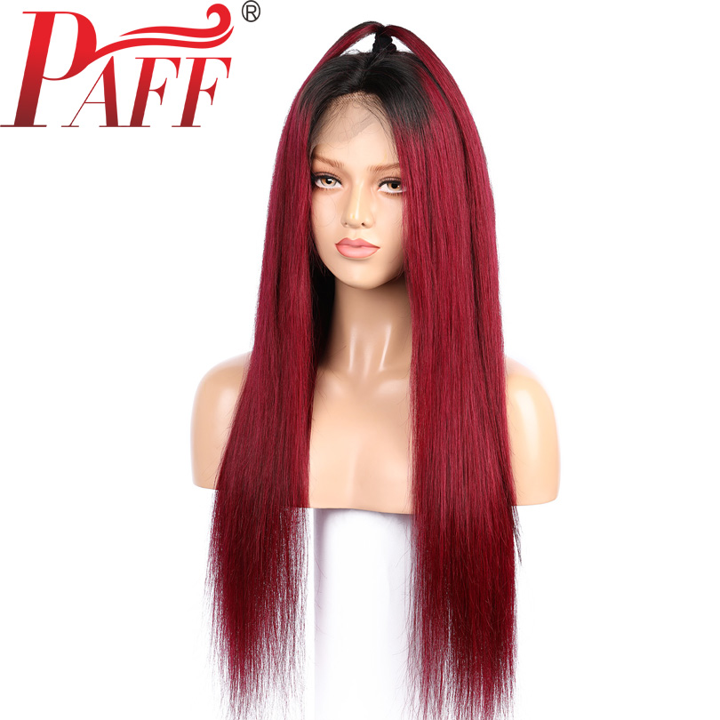 36C Ombre 1B 99J Full Lace Wig Peruvian Straight Remy Hair Two Tone Burgundy Color Middle Part 12-30 Inches Human Hair Wig ...