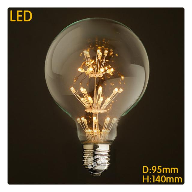 Amostra Nova estrela LED 3 W lâmpada decorativa de Natal E27 G95 edison110-240V Filamento Edison Lâmpada Lâmpada para Decoração de Casa de Iluminação