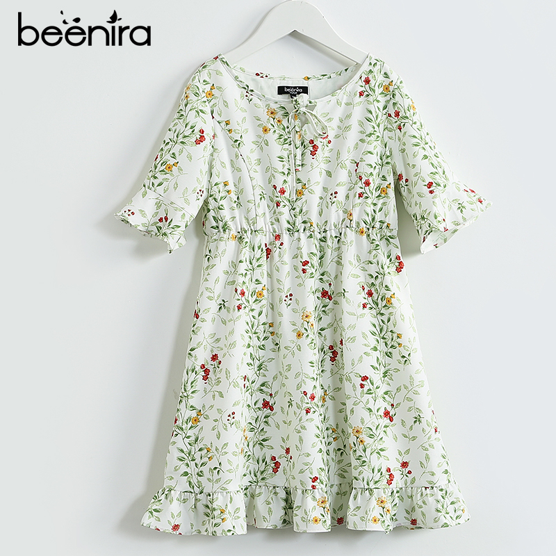 Beenira 2017 New Summer Beach Style Girls Half Sleeve Dress European and American Style 4-14Y Kids Clothes Floral Party Dress 100% real photo brand kids red heart sleeve dress american and european style hollow girls clothes baby girl clothes