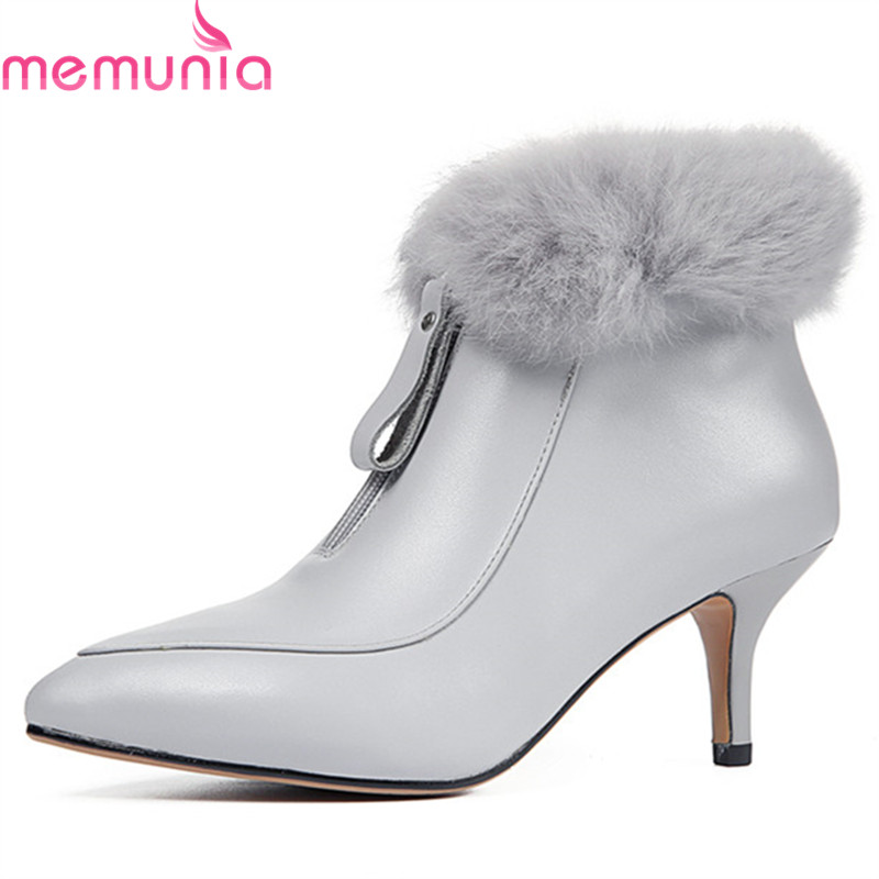 MEMUNIA 2020 new arrival ankle boots for women top quality genuine leather autumn winter boots simple zip stiletto heels shoes