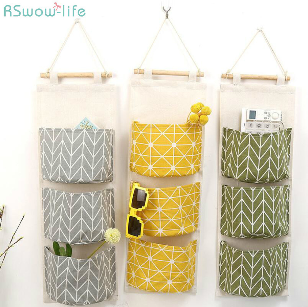 Cotton And linen Waterproof Storage Hanging Bag Multi-layer Storage Bag For Kitchen Storage Products