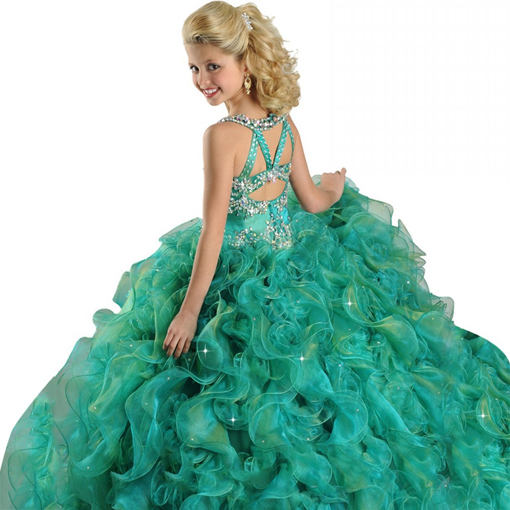 ff918a236a68 Green Spaghetti Beads Ball Gown Kids Prom Party Dresses 2018 Ritzee Girls  Pageant DressesFlower Girls Dresses EM04964-in Flower Girl Dresses from  Weddings ...