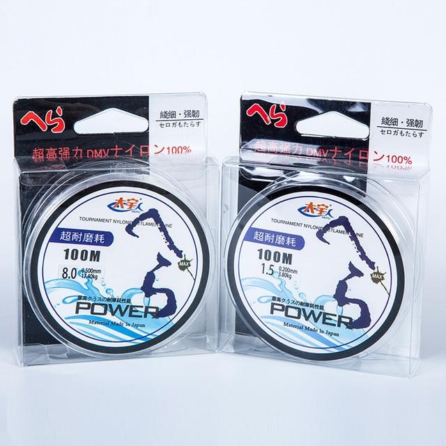 Super Strong pull 17.5kg 100m Japanese material 100% Nylon Transparent Fluorocarbon Fishing Line Carp Fishing Line Tackle