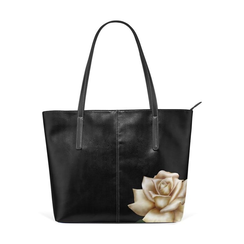 Women Vegan Shoulder Bag High Quality Leather Women Girls Rose Laptop Tote Bag Leather Work Tote Girls Floral Shoulder Bag roommates наклейки для декора приключения в джунглях