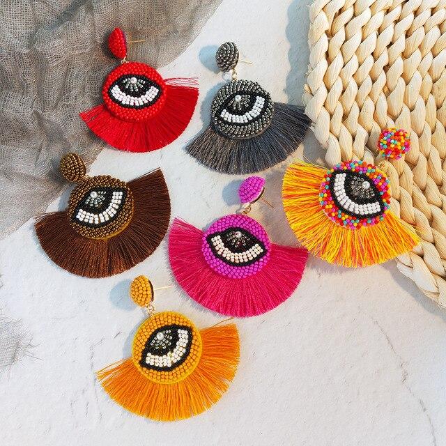 JOUVAL этнические богемные большие глаза бусины Серьги для женщин кисточка ручной работы Серьги Свадебная вечеринка эффектные Висячие Серьги Brincos