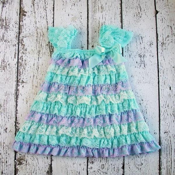 Aqua Lavender Ivory Baby Girl Lace Dress-Petti Lace Dress For Newborn Baby  Girls- 2f4b09da81c8