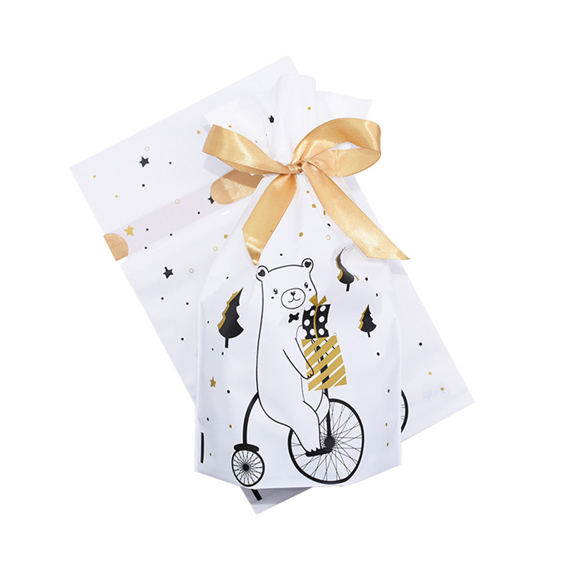 5/10pcs Candy Cookies Gift Bags With Ribbon Snack Biscuit Baking Package Wedding Birthday Party Decoration Christmas Gift Bags