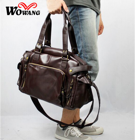 2016 Men Shoulder Crossbody font b bag b font PU Leather Multifunctional Male Luggage Travel font