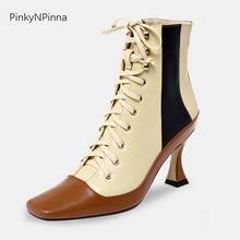купить Luxury women genuine leather ankle boots vintage Rococo French style high heels laced up square toe fashion booties party shoes по цене 3027.99 рублей
