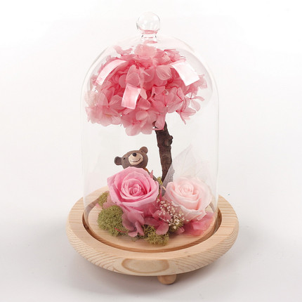 Romantic Rose Decoration Christmas Gift For Lover Girls Handmade Preserved Fresh Flowers Round Glass Box Crafts In Artificial Dried From Home