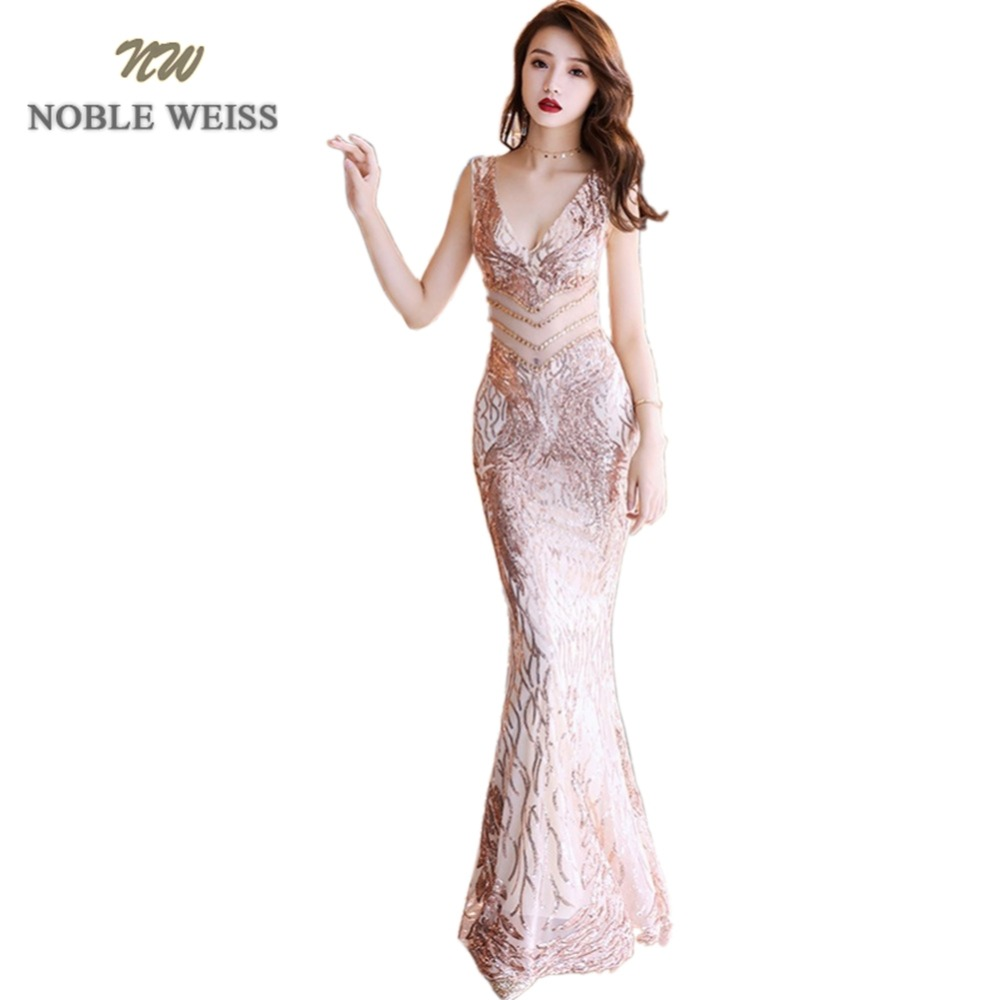 prom     dresses   2019 gold mermaid vestido de festa longo sexy long   prom     dress   v-neck backless sequin evening gowns